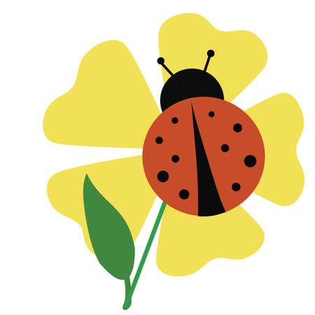 ladybug sitting on a yellow flower illustration