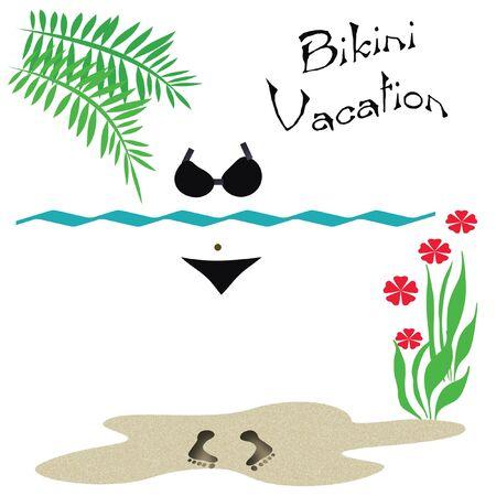 footprints sand: bikini beach vacation poster sand and footprints