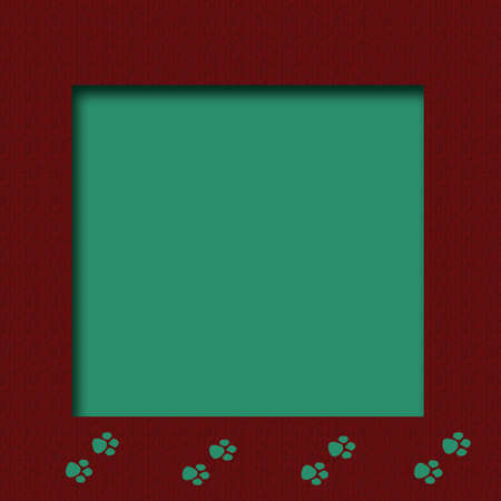 pet footprints on  maroon and teal cutout center