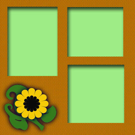 folksy: large yellow flower on textured background scrapbook illustration