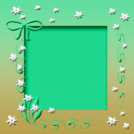 white flowers and green vines frame cutout center
