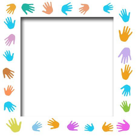 volunteer poster assorted color hands frame cutout center illustrated Stock Photo