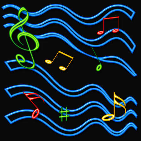 blue green background: colorful music notes abstract 3d on background