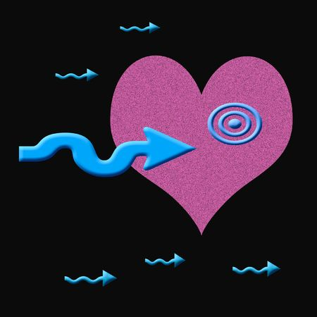 conception: pink and blue arrows and heart conception target illustration Stock Photo
