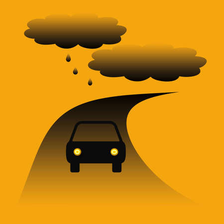car driving on a winding road in the rain illustration