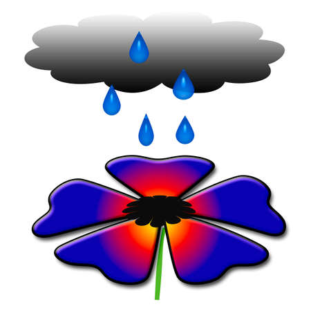 large colorful flower with cloud and raindrops illustration 版權商用圖片