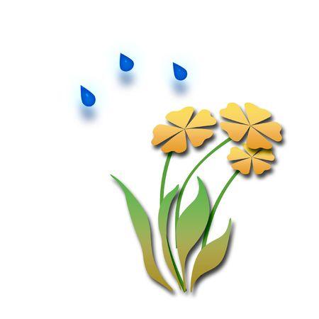 Coloridas flores y nubes con gotas de lluvia ilustración Foto de archivo - 2945539