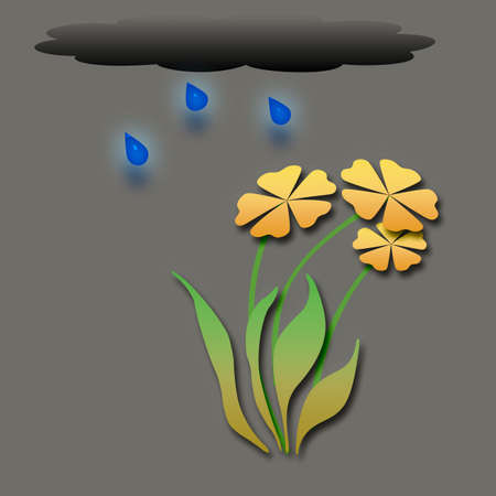 colorful flowers with cloud and raindrops illustration