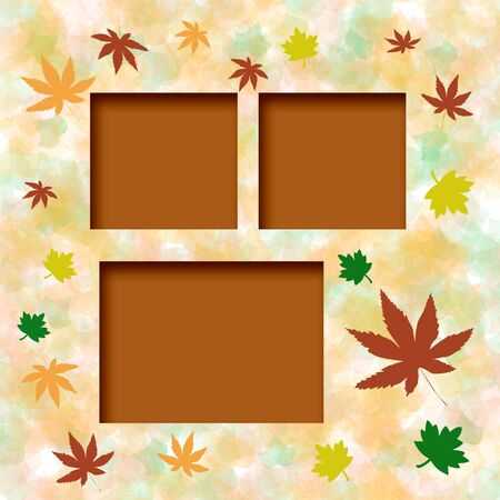 blank center: colorful autumn leaves frame around blank center