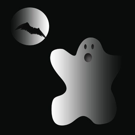 griezelig Halloween geest en de maan met vleermuis