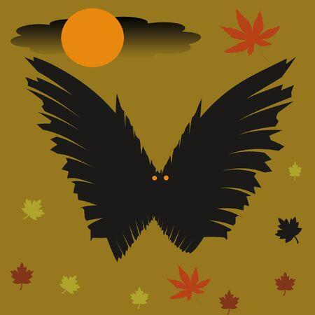 spooky black vleermuis met maan en herfst blade ren Stockfoto