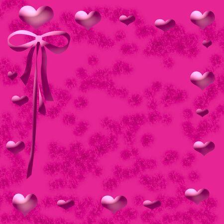 pink hearts and ribbon frame mottled center Stok Fotoğraf - 3027203