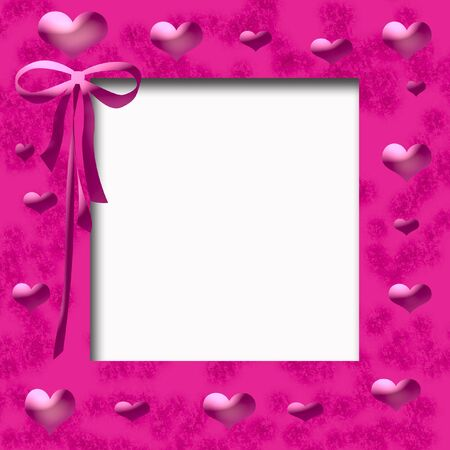 pink hearts and ribbon frame cutout center Stok Fotoğraf - 3027202