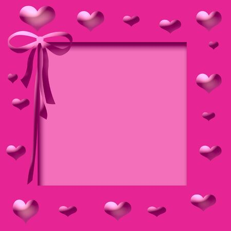 pink hearts and ribbon frame cutout center Stok Fotoğraf - 3027201