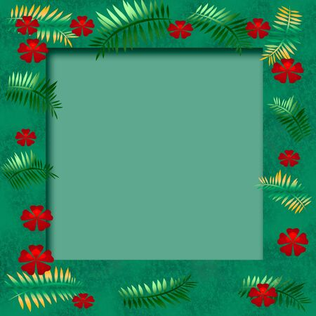 tropical illustration scrapbook frame flowers and palms