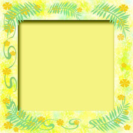 tropical illustration scrapbook frame flowers and vines