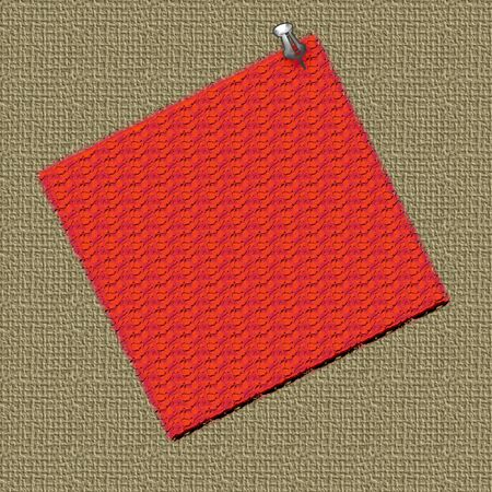 thumbtacked: colored square thumb-tacked to textured bulletin board Stock Photo