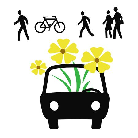 bicycle walk: auto,car,transport,yellow ,green,planter, alternative, transportation, illustration,pedestrian,bicycle,walk,petrol,fuel,extinct,prices,gas,flowers,obsolete,