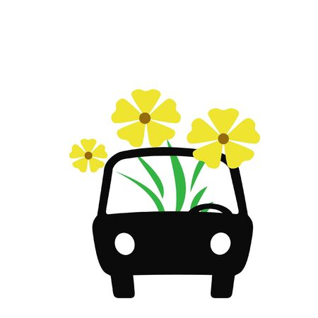 planter: auto,car,transport,yellow ,green,planter, alternative, transportation, illustration,pedestrian,bicycle,walk,petrol,fuel,extinct,prices,gas,flowers,obsolete,