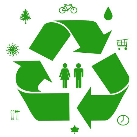 green symbols ways to save our resources illustration