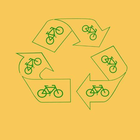 녹색 재활용 기호 및 자전거 공기 저장