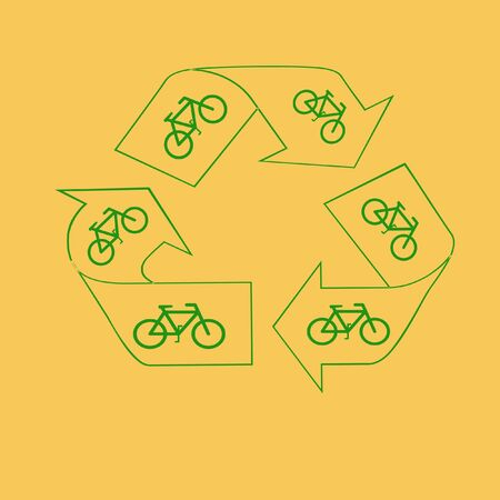 green recycle symbol and bicycles save the air Reklamní fotografie