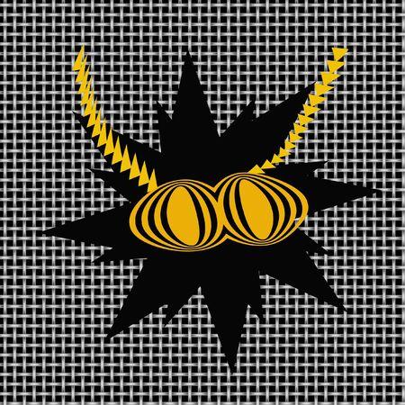 bug met gele ogen en antenne op scherm afbeelding