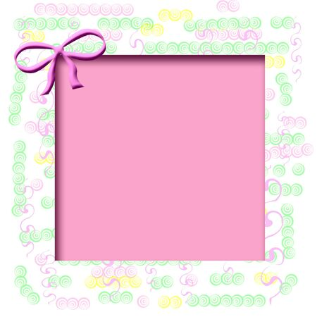 frame pastel shapes on white background  with pink cutout center Stok Fotoğraf - 3295139
