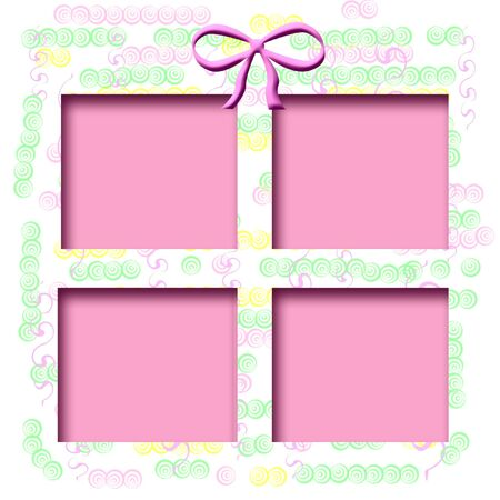 frame pastel shapes on white background  with pink cutout center