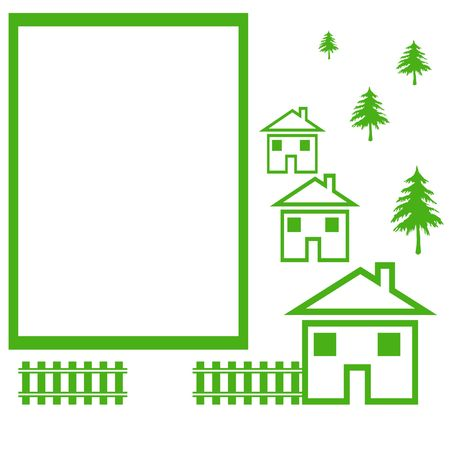 green community sign with houses and trees