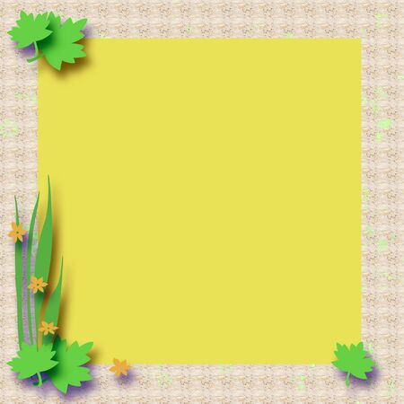 blank center: green leaves and yellow flowers frame around  blank center
