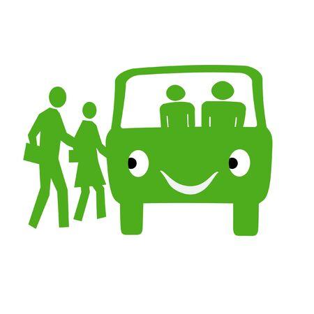 緑のバスと白い背景のイラストの人々