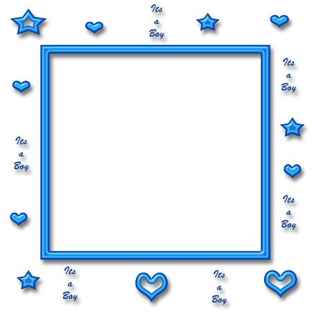 blue neon stars and hearts with neon frame center