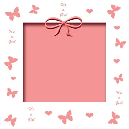 pink butterflies and hearts frame with pink cutout center