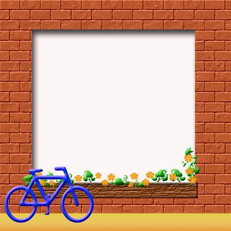 bike leaning against red brick wall scrapbook frame illustration Stok Fotoğraf