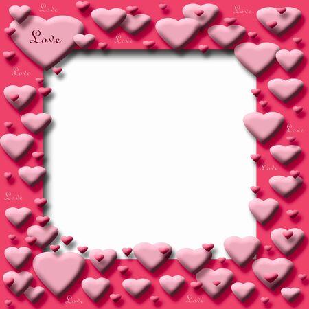 ピンクのバレンタインお菓子の心フレーム空白センターの図