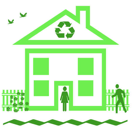 recycle at home sign house with fence and