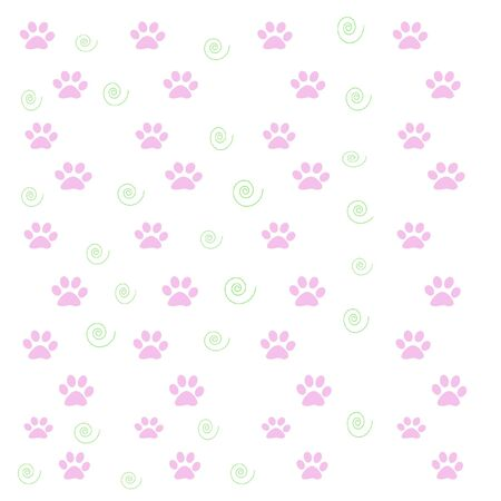 pink paw prints and green swirls on white background Imagens