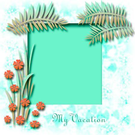 tropical illustration scrapbook frame flowers and fronds  Zdjęcie Seryjne
