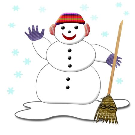 greet: smiling snowman in gloves and hat holding a broom