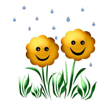 Sonriente primavera con flores azul ejemplo las gotas de lluvia Foto de archivo - 3680178