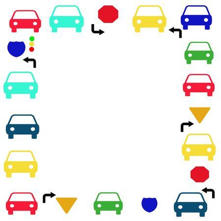 autos and traffic symbols frame blank center 스톡 콘텐츠