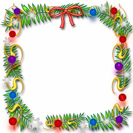 blank center: Christmas frame colorful ornaments and snowflakes around blank center