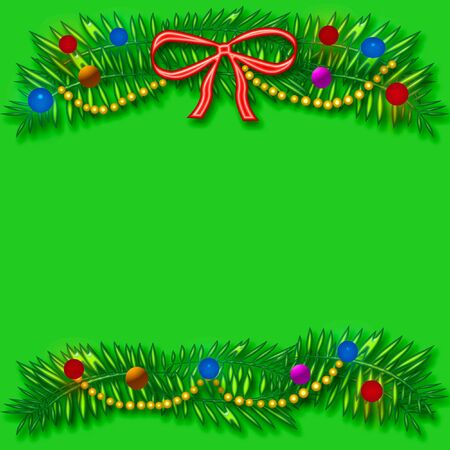 blank center: Christmas frame colorful ornaments and beads around blank center
