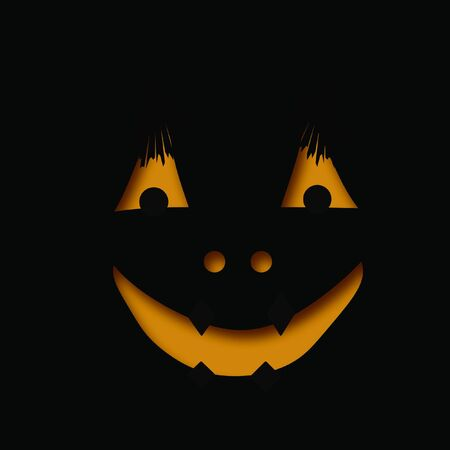 Halloween smiling jack-o-lantern orange face on black background Stock Photo