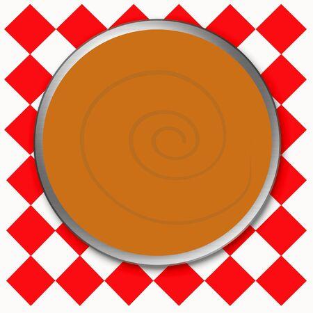 orange pumpkin pie on red checkered tablecloth Stock fotó