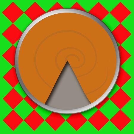 pumpkin pie: orange pumpkin pie on red checkered tablecloth Stock Photo