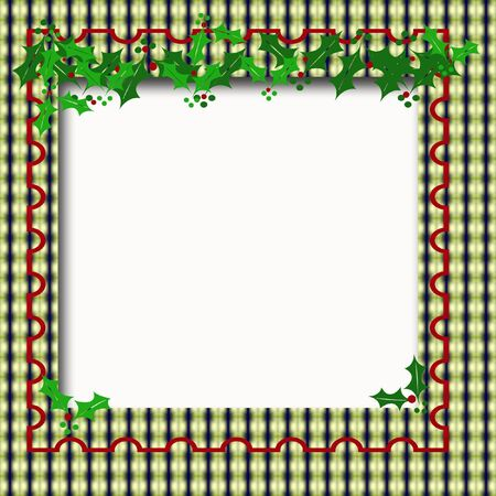 blank center: Christmas frame holly and berries around blank center
