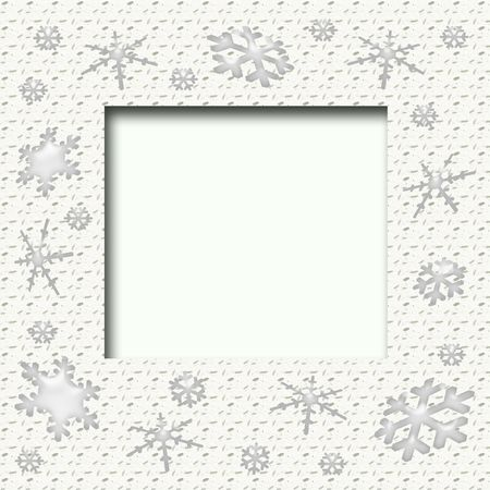 blank center: Christmas frame assorted snowflakes around blank center Stock Photo