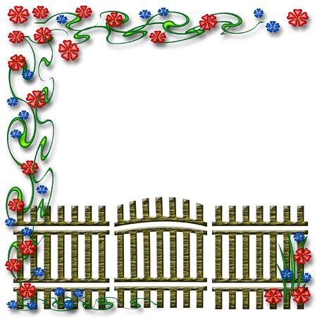 tuinhek en kleurrijke bloemen plakboek pagina illustratie Stockfoto
